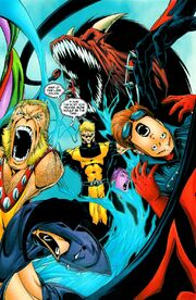 Kevin MacTaggert (Earth-58163), Kevin Sidney (Earth-1081), and Exiles (Multiverse) from Exiles Vol 1 82 001.jpg