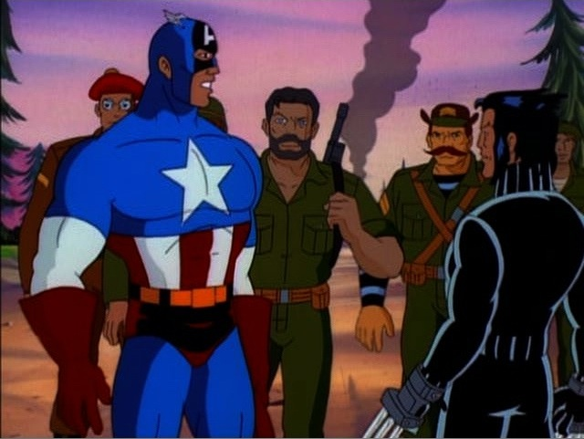Howling Commandos (Earth-92131), Steven Rogers (Earth-92131), and Wolverine (Logan) (Earth-92131) from X-Men The Animated Series Season 5 11 001.jpg