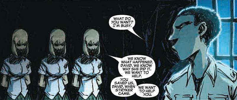 David Alleyne (Earth-616) and Stepford Cuckoos (Earth-616) from New X-Men Vol 2 42 0001.jpg