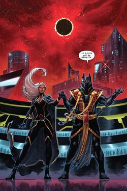 Ororo Munroe (Earth-616) and Death (First Horsemen) (Earth-616) in Sevalith from X-Force Vol 6 14 001.jpg