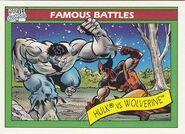 Bruce Banner vs. James Howlett (Earth-616) from Marvel Universe Cards Series I 0001