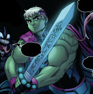 Theodore Altman (Earth-616) with Excelsior (Star-Sword) from King in Black Wiccan and Hulkling Vol 1 1 002