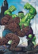 Benjamin Grimm and Bruce Banner (Earth-616) from Marvel Masterpieces Trading Cards 1992 Battle Cards 0001