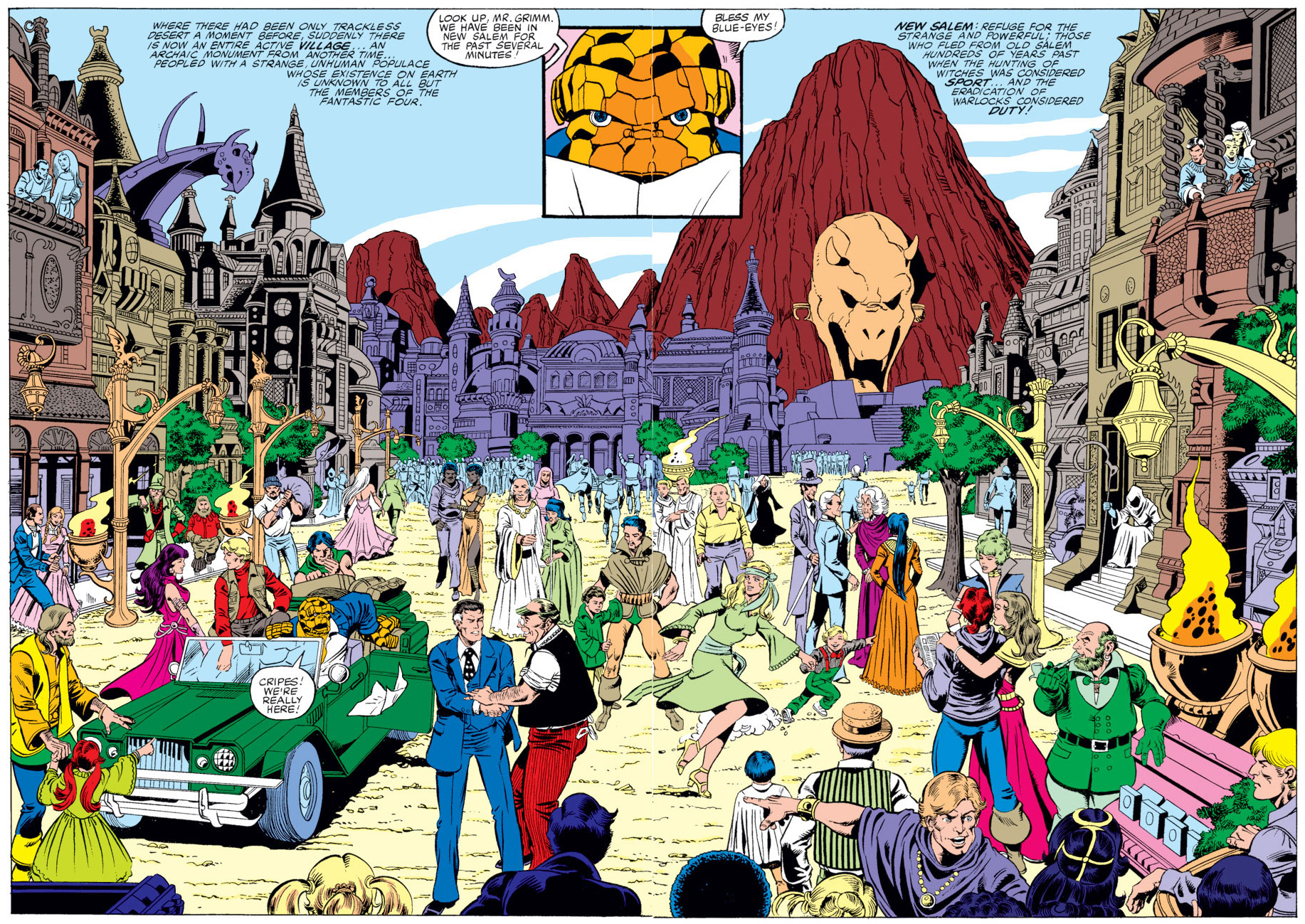 Fantastic Four (Earth-616) and Frankln Richards (Earth-616) visit New Salem from Fantastic Four Annual Vol 1 14 001.jpg