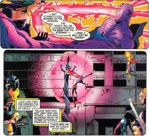 Crule (Earth-616) vs Selene Gallio (Earth-616) from X-Force Vol 1 -54 001.png