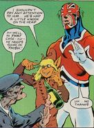 Jackdaw (Otherworld) and Brian Braddock (Earth-616) from Marvel Super-Heroes (UK) Vol 1 378 001