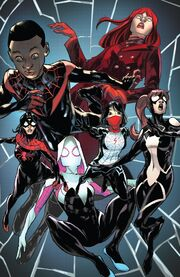 Miles Morales (Earth-1610), Julia Carpenter (Earth-616), Gwendolyn Stacy (Earth-65), Anya Corazon (Earth-616), Cindy Moon (Earth-616) and Jessica Drew (Earth-616) from Amazing Spider-Man Vol 5 44 001.jpg