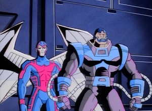 Warren Worthington III and En Sabah Nur (Earth-92131) from X-Men The Animated Series Season 1 10 0001.png