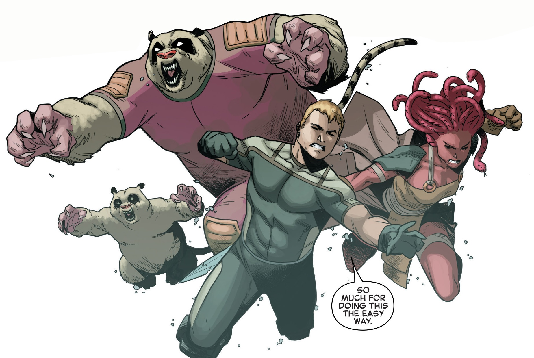 Eugene Thompson (Earth-616), Pik Rollo (Earth-616), Hilla (Earth-616) and Iqa (Earth-616) from Venom Space Knight Vol 1 10 001.jpg