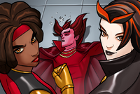 Mephisto (Earth-TRN562), Mercedes Knight (Earth TRN562) and Satana Hellstrom (Earth-TRN562) from Marvel Avengers Acaddemy 001.png