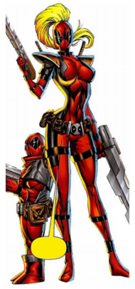 Lady Deadpool (Earth-3010) and Kidpool (Earth-10330) from Deadpool Corps Vol 1 2.png.png
