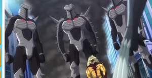 Destroyer (Enchanted Armor) and Victor Creed (Earth-14042) from Marvel Disk Wars The Avengers Season 1 17 001.png