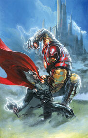 Thor God of Thunder Vol 1 7 Many Armors of Iron Man Variant Textless.jpg