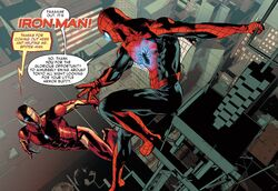 Peter Parker (Earth-616) and Anthony Stark (Earth-616) from Invincible Iron Man Vol 3 8 001.jpg