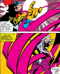Stephen Strange (Earth-616), Clea (Earth-616) and Crimson Bands of Cyttorak from Doctor Strange Vol 2 47 001.jpg