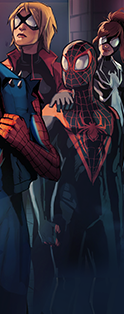 Miles Morales (Earth-TRN494) and Jessica Drew (Earth-1610) 001.png