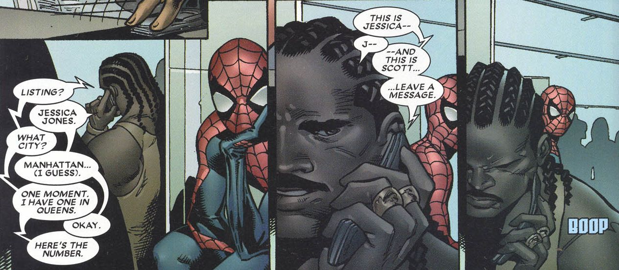 Luke Cage (Earth-58163), Jessica Jones (Earth-58163), Scott Lang (Earth-58163), and Peter Parker (Earth-58163) from House of M Vol 1 6 0001.jpg