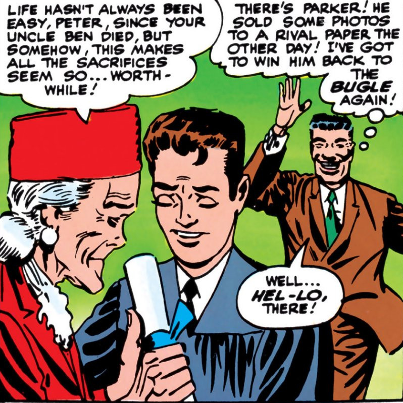 Peter Parker (Earth-616) graduates from High School from Amazing Spider-Man Vol 1 28.jpg
