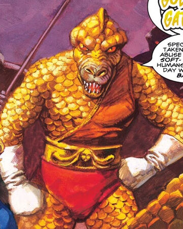 KhLΘG (Earth-616) in the form of Golden Gator (Earth-616) from Strange Tales Vol 3 1 0001.jpg