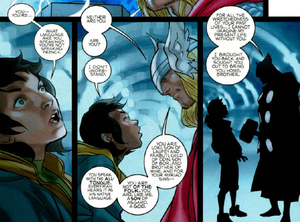 Loki Laufeyson (Kid Loki) (Earth-616) and Thor Odinson (Earth-616) from Thor Vol 1 617 001.png
