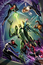 Spider-Women Alpha Vol 1 1, Spider-Gwen Vol 2 7, Silk Vol 2 7, and Spider-Woman Vol 6 6 Campbell Connecting Variants Textless.jpg