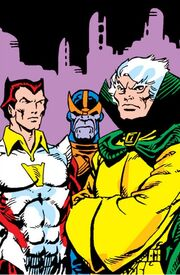 A'Lars (Earth-616), Eros (Earth-616) and Thanos (Earth-616) from Avengers Annual Vol 1 7 001