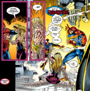 Peter Parker (Earth-616), Gwen Stacy Clone (Earth-616), and Ben Reilly (Earth-616) from Spider-Man Vol 1 56 001.png