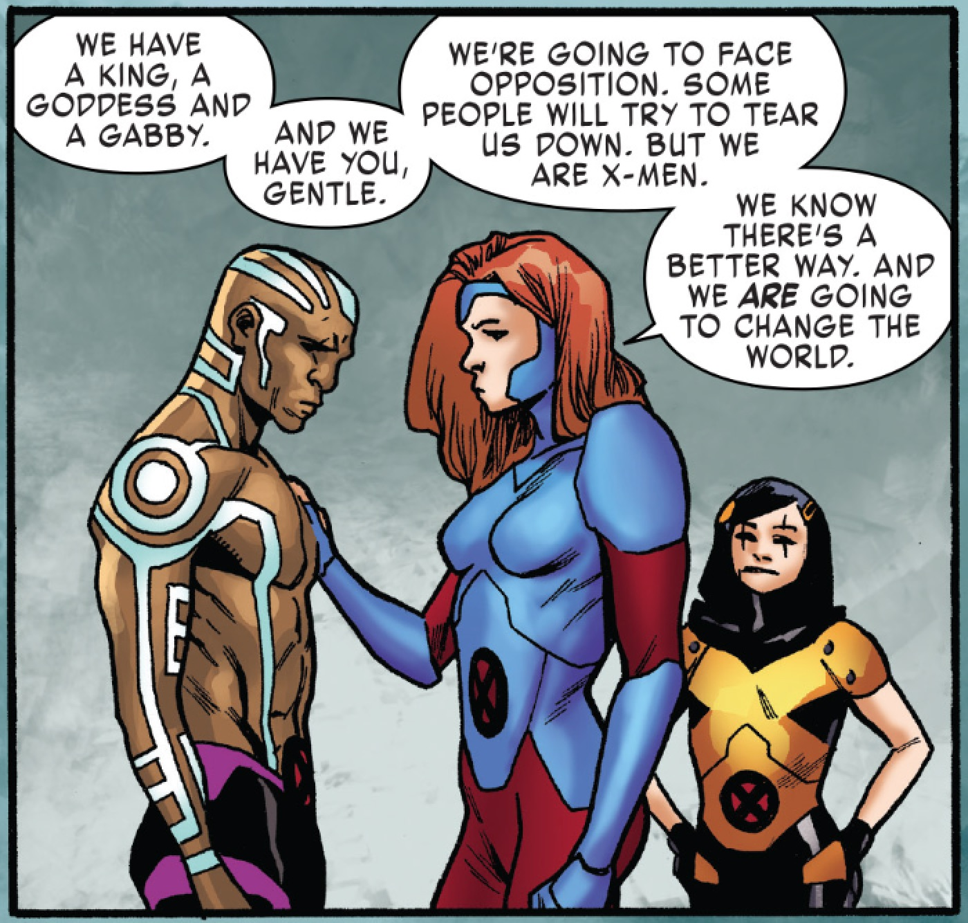 Nezhno Abidemi (Earth-616) and Jean Grey (Earth-616) with Gabrielle Kinney (Earth-616) from X-Men Red Vol 1 4 002.jpg