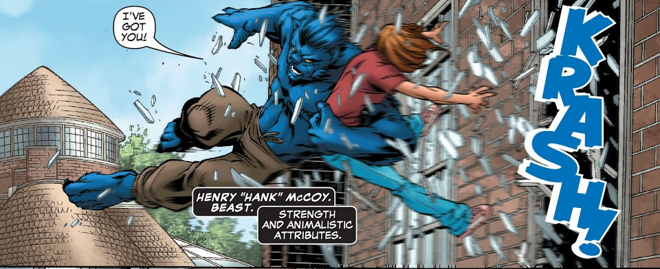 Henry McCoy (Earth-616) and Melody Guthrie (Earth-616) from New X-Men Vol 2 20 0001.jpg