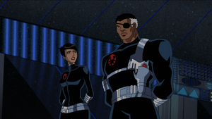 Maria Hill (Earth-8096) and Nicholas Fury (Earth-8096) from Avengers Micro Episodes- Iron Man Season 1 4 001.png