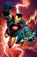 Anthony Stark (Earth-616) and Recorder 451 (Earth-616) from Iron Man Vol 5 15 001