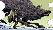 Loki Laufeyson (Earth-616) and Fenris Wolf (Earth-616) from Mighty Thor Vol 2 700 001