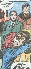 Jean Grey (Earth-616), Scott Summers (Earth-616), Stan Lee (Earth-616), and Jack Kirby (Earth-616) from X-Men Vol 1 98 0001.png