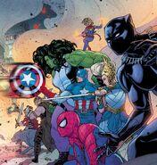 Avengers (Earth-616), Peter Parker (Earth-616), Freyja Freyrdottir (Earth-616), Hildegarde (Earth-616), Thori (Earth-616) and Sif (Earth-616) from War of the Realms Vol 1 1 001