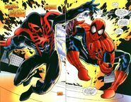 Miguel O'Hara (Earth-928) and Peter Parker (Earth-616) from Spider-Man 2099 Meets Spider-Man Vol 1 1 0001