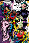 Lucas Bishop (Earth-1191), Trevor Fitzroy (Earth-1191), Malcolm (Earth-1191) and Randall (Earth-1191) from Uncanny X-Men Vol 1 282