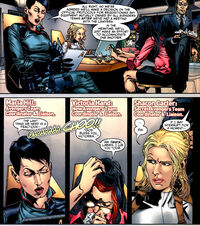 Maria Hill (Earth-616), Sharon Carter (Earth-616) and Victoria Hand (Earth-616) from Age of Heroes Vol 1 3 0001.jpg