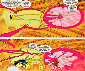 Candra (Earth-616) vs. Ororo Munroe (Earth-616) from X-Men Unlimited Vol 1 7 001.png