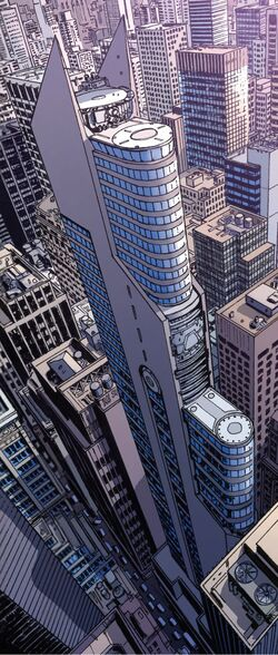 Stark Tower (Columbus Circle, Rebuilt) from Avengers Vol 5 9 001.jpg