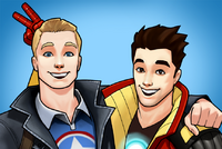 Steven Rogers (Earth-TRN562) and Anthony Stark (Earth TRN562) from Marvel Avengers Acaddemy 001.png