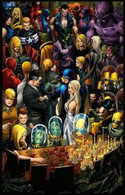 Fantastic Four (Earth-616), Future Foundation (Earth-616), New Avengers (Earth-616), X-Men (Earth-616), Secret Avengers (Earth-616), and Avengers (Earth-616) from Fantastic Four Vol 1 588 0001.jpg