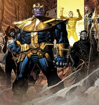 Black Order (Earth-616), Thanos (Earth-616), and Thane (Earth-616) from Infinity Vol 1 6 001.jpg