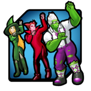 Mephisto (Earth-TRN562), Amora (Earth-TRN562) and Bruce Banner (Earth-TRN562) from Marvel Avengers Academy 001