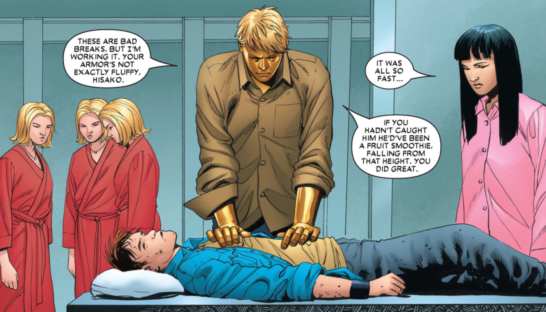 Edward Tancredi (Earth-616), Hisako Ichiki (Earth-616), Joshua Foley (Earth-616) and Stepford Cuckoos (Earth-616) from Astonishing X-Men Vol 3 5 001.jpg