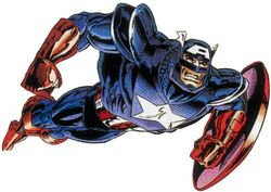 Steven Rogers (Earth-616) in Captain America's Exoskeleton from Captain America Vol 1 438 0001.jpg