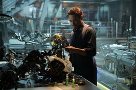 Anthony Stark (Earth-199999) and Ultron (Earth-199999) from Avengers Age of Ultron 001.jpg