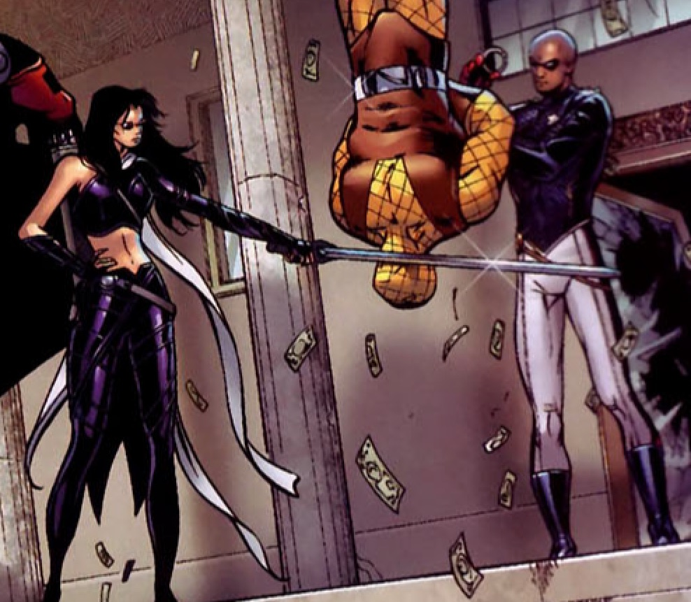 Katherine Bishop (Earth-616) with Hawkeye's Sword from Young Avengers Vol 1 7 001.jpg