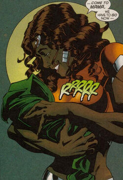 Melody Jacobs and Threnody's Child (Earth-616) from X-Man Vol 1 58 001.jpg