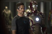 Anthony Stark (Earth-199999) with Iron Man Armor MK XLII (Earth-199999) from Iron Man 3 (film) 003.jpg