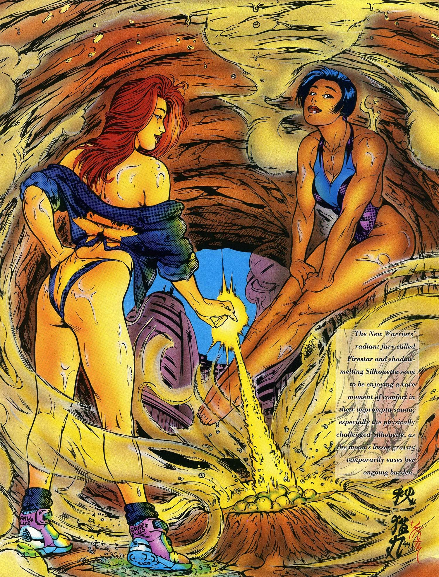 Angelica Jones (Earth-616) and Silhouette Chord (Earth-616) from Marvel Swimsuit Special Vol 1 3.jpg